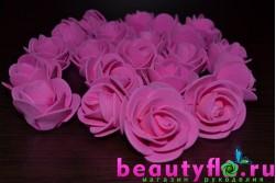 Розочка головка (латексная) розовая, 3,5см