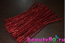 Проволока с мишурой новогодняя красная, 30 см