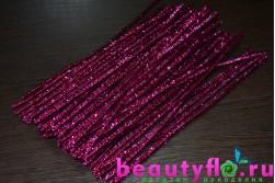 Проволока с мишурой новогодняя розовая, 30 см