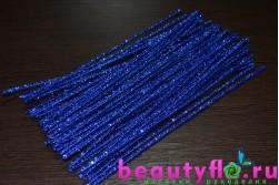 Проволока с мишурой новогодняя синяя, 30 см