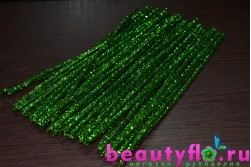 Проволока с мишурой новогодняя зеленая, 30 см