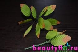 Листики розы на проволоке зелено-коричневые